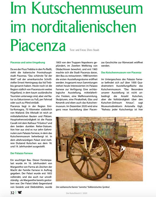 """Artikel in der Zeitschrift """"Der Kutschbock"""" von Doro Staub"""